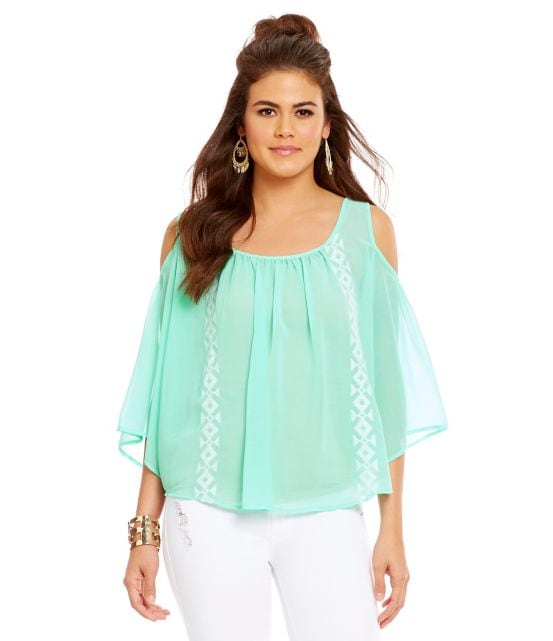 Collective Concepts Embroidered Cold-Shoulder Top