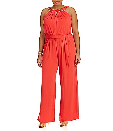 Vince Camuto Plus Jeweled Halter-Neck Jumpsuit