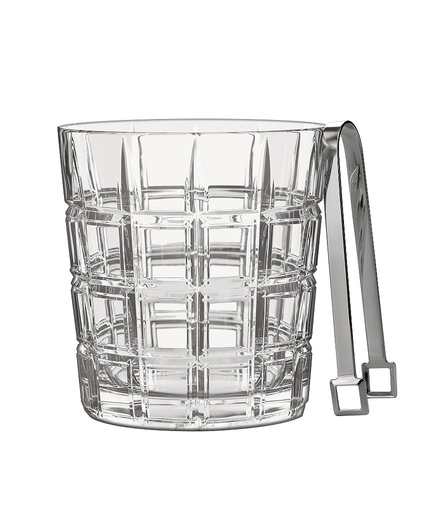Marquis by Waterford Crosby Geometric-Cut Crystal Ice Bucket with Metal Tongs