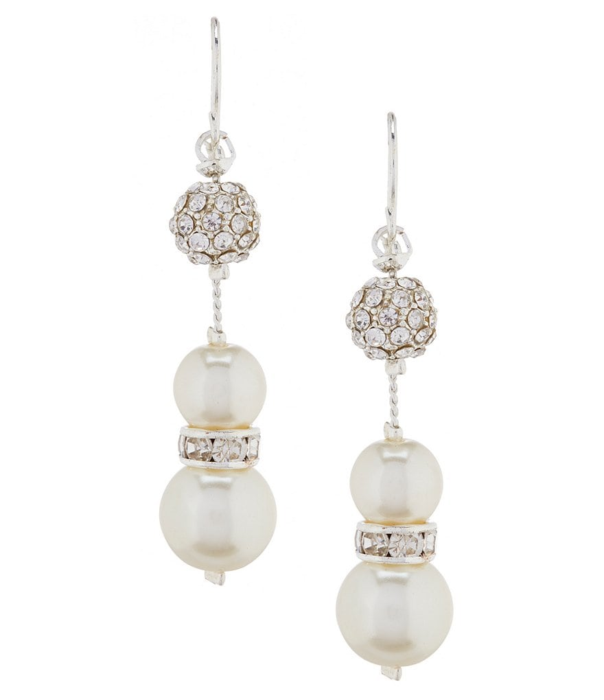 Cezanne Pearl and Fireball Illusion Earrings