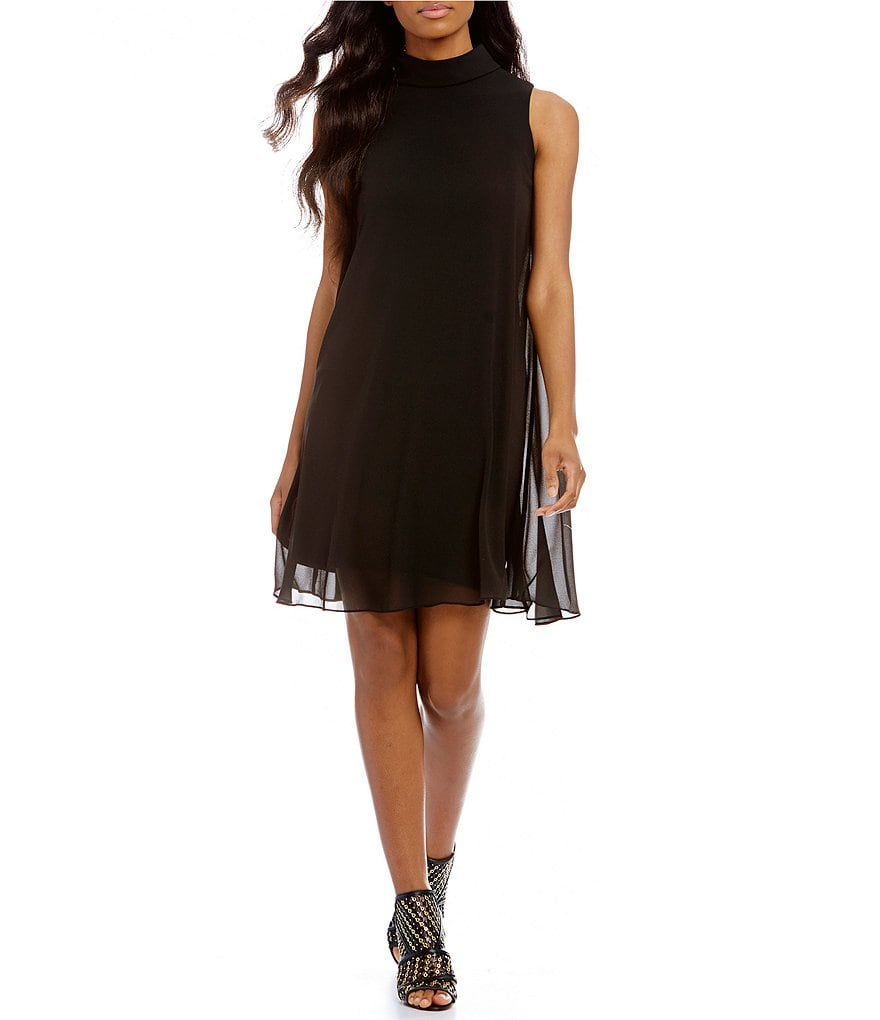 Vince Camuto Mockneck Chiffon Dress