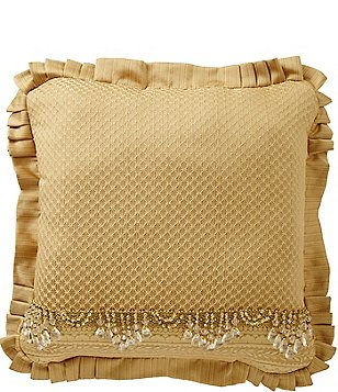 J. Queen New York Napoleon Beaded Pleated Square Pillow
