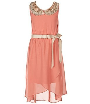 Soprano Big Girls 7-16 Lace-Collared High-Low Hem Dress