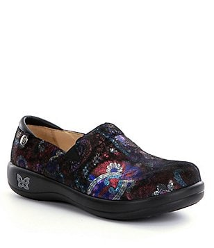 Alegria Keli Soft Patterned Leather Slip On Clogs
