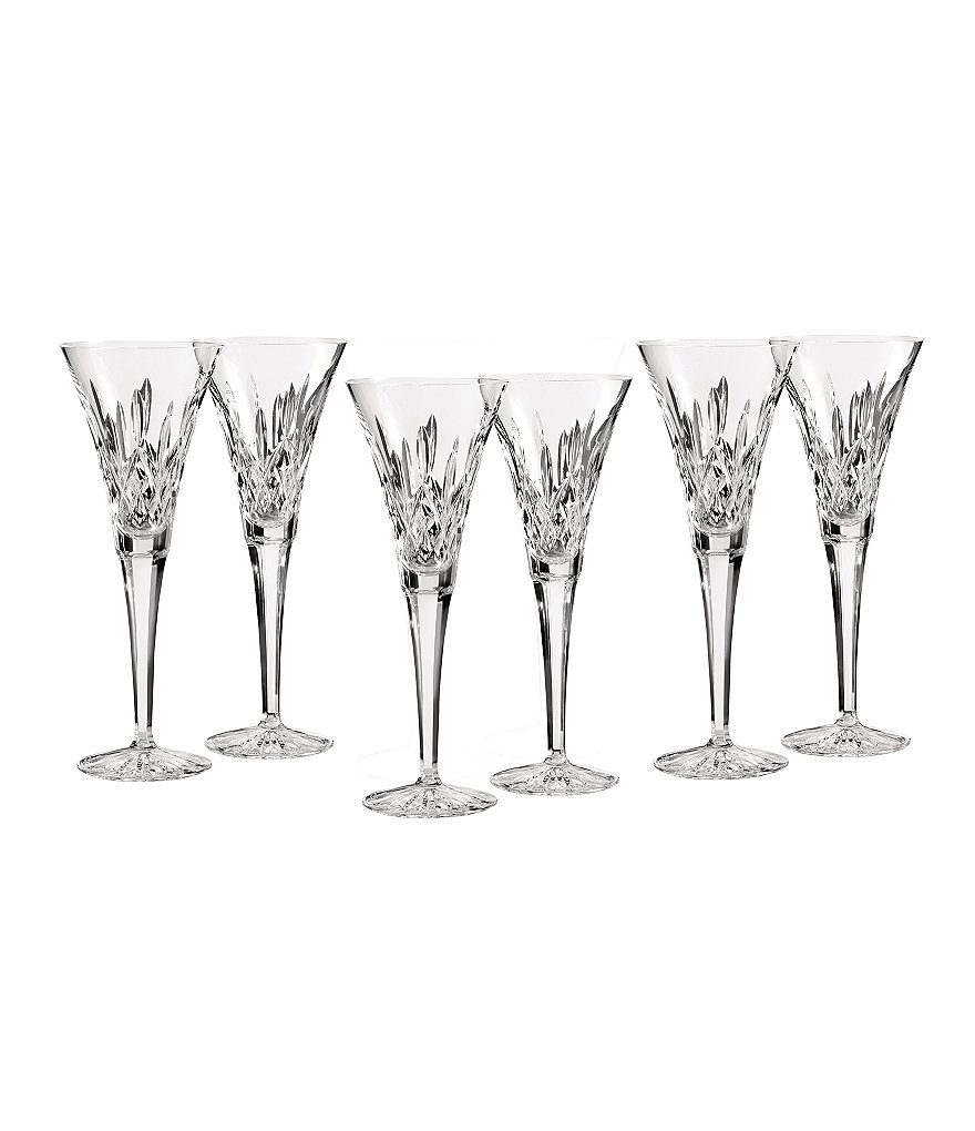 Waterford Lismore Diamond-Cut Crystal Toasting Flutes, Set of 6