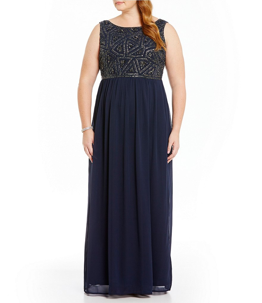 Adrianna Papell Plus Beaded-Bodice Sleeveless Gown