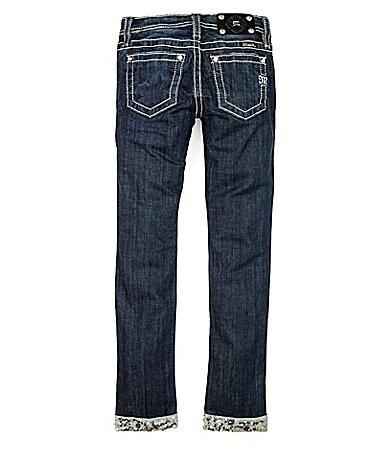 Miss Me Girls 7-16 Sequin-Roll-Cuff Denim Skinny Jeans