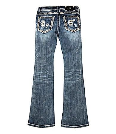 Miss Me Girls 7-16 Goldtone-Border-Pocket Bootcut Denim Jeans