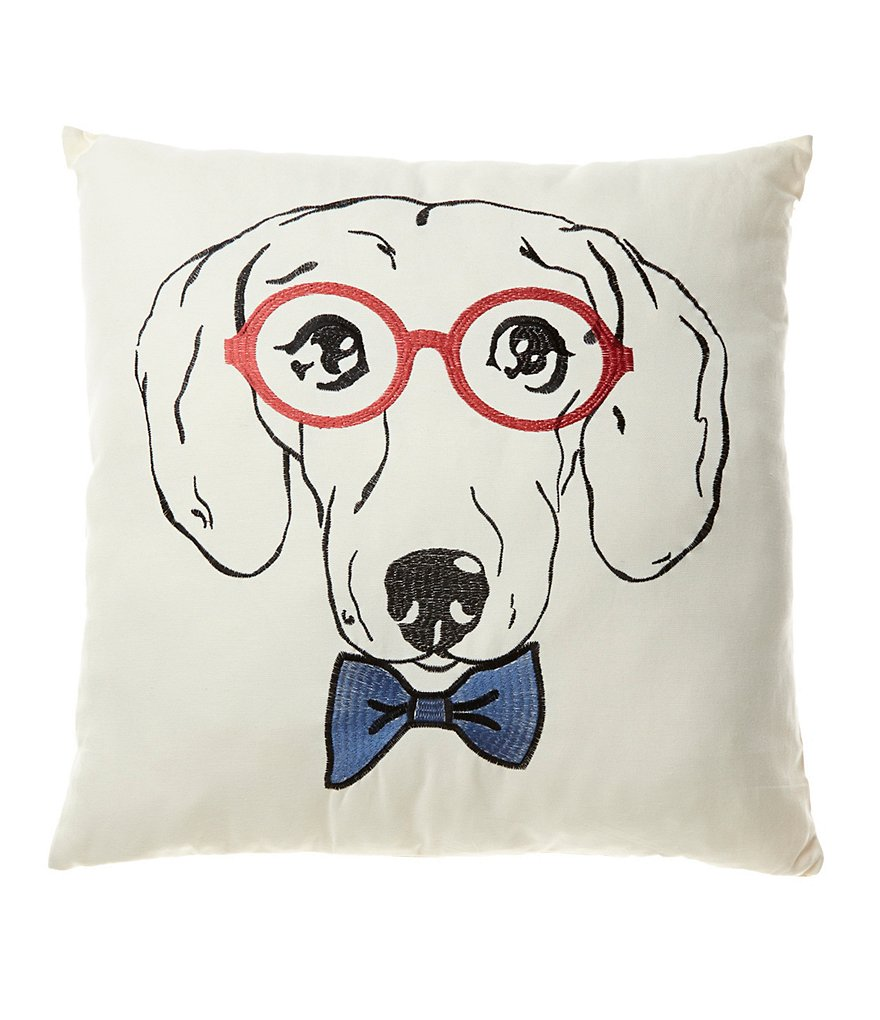 Loom & Mill Bow Tie & Glasses Dachshund Oversized Square Pillow