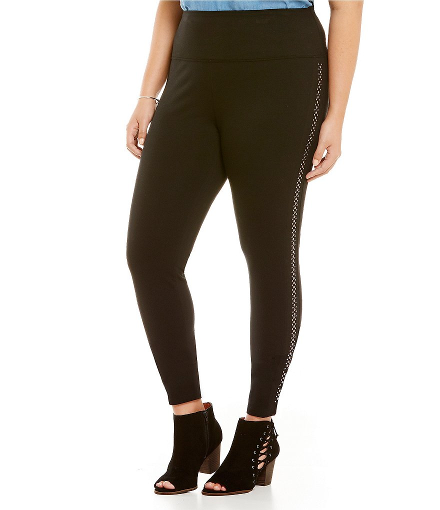 Intro Plus Love the Fit Solid Leggings with Stud Detail