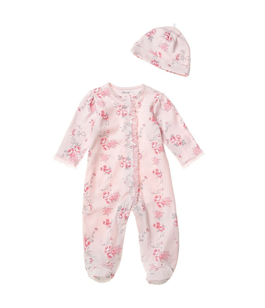 Little Me Baby Girls Newborn-9 Months Scroll Rose Footed Coverall & Hat Set