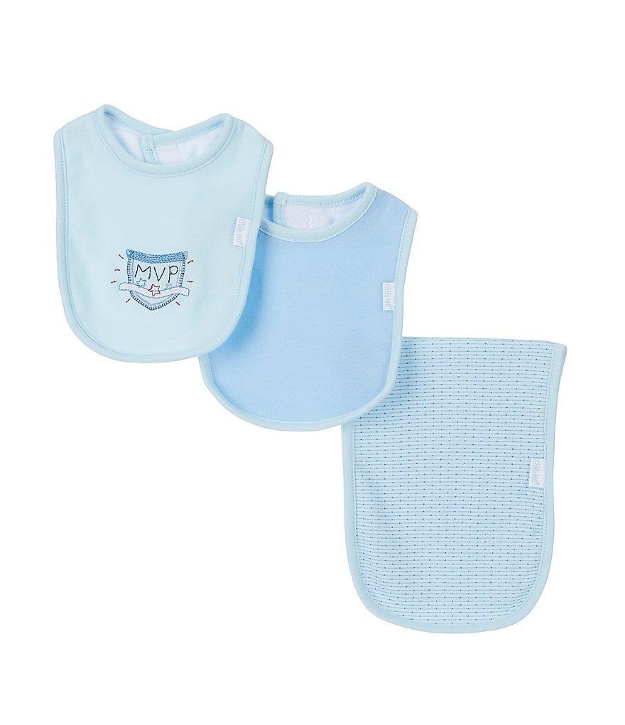 Little Me MVP Bib & Burp Cloth Three-Piece Set