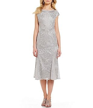 Alex Evenings Cap-Sleeve Stretch Tulle Midi Dress
