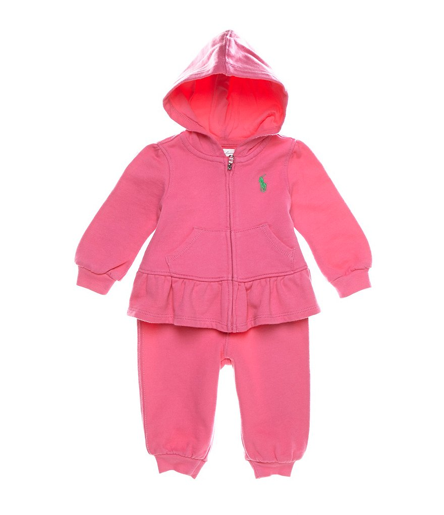 Ralph Lauren Childrenswear Baby Girls 3-24 Months Full-Zip Hoodie & Pull-On Pant Set
