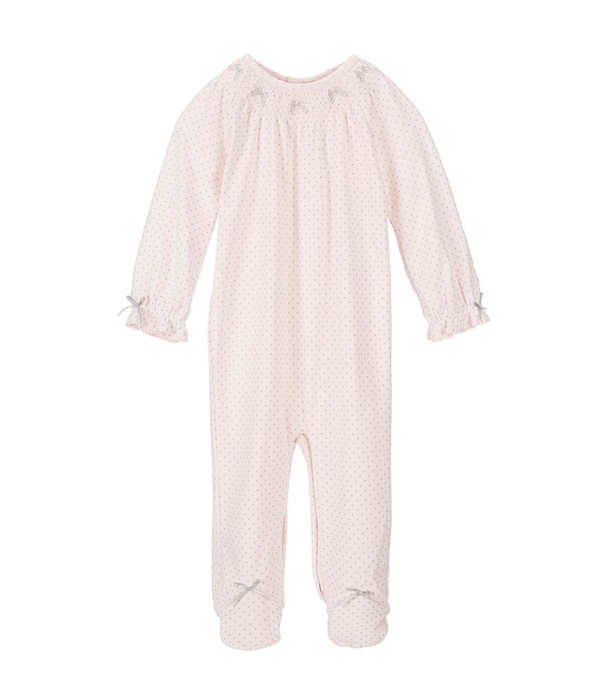 Edgehill Collection Baby Girls Newborn-6 Months Dotted Smocked Coverall