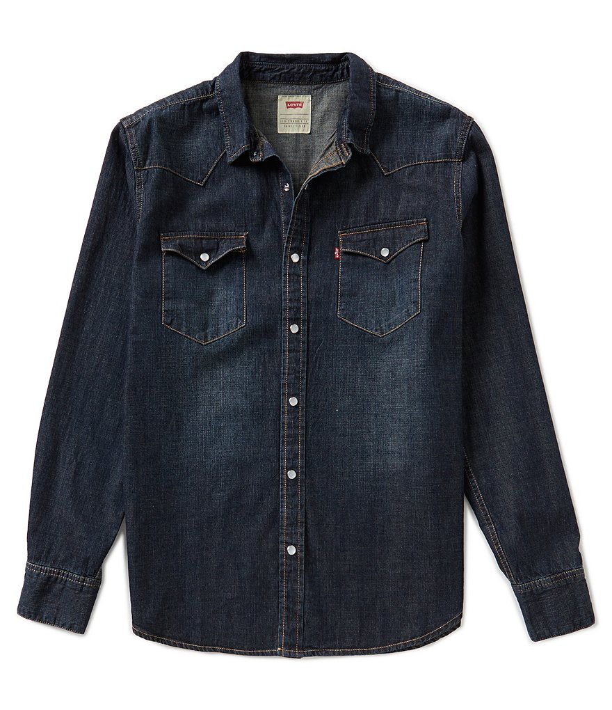 Levi S Barstow Solid Snap Front Denim Shirt Dillards