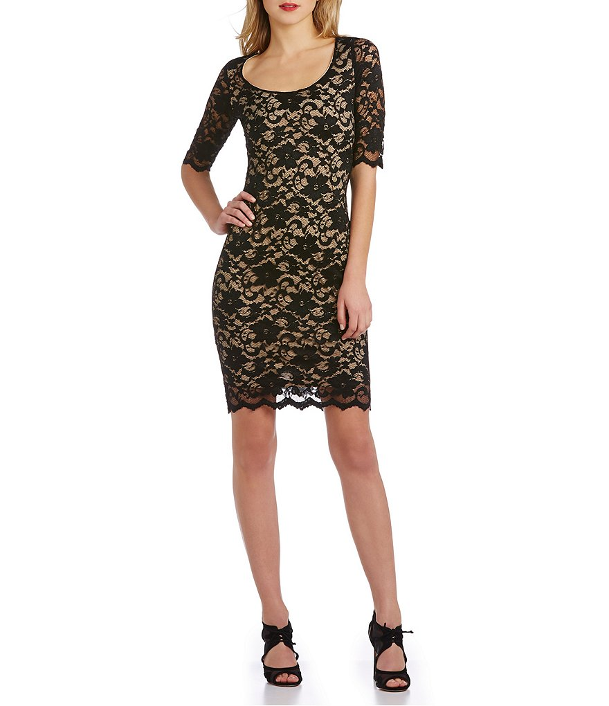 Belle Badgley Mischka Scallop Hem Stretch-Lace Sheath Dress
