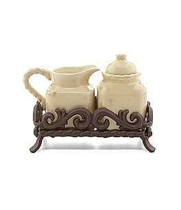 Artimino Tuscan Countryside Rope-Edged Stoneware Sugar & Creamer Set Image