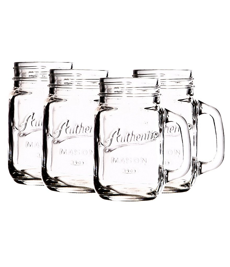Home Comfort by Home Essentials Authentic Mason Jar Mugs, Set of 4