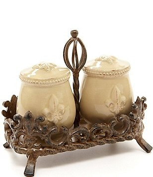 Artimino Fleur-de-Lis Beveled Earthenware Salt & Pepper Shaker Set