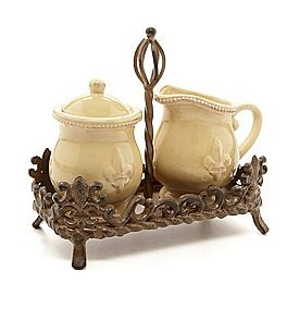 Artimino Fleur-de-Lis Beveled Earthenware Sugar & Creamer Set Image
