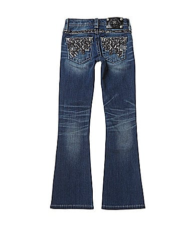 Miss Me Girls 7-16 Embellished-Abstract-Embroidered Pocket Bootcut Denim Jeans