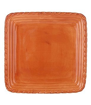 Artimino Tuscan Countryside Rope-Edged Stoneware Square Dinner Plate