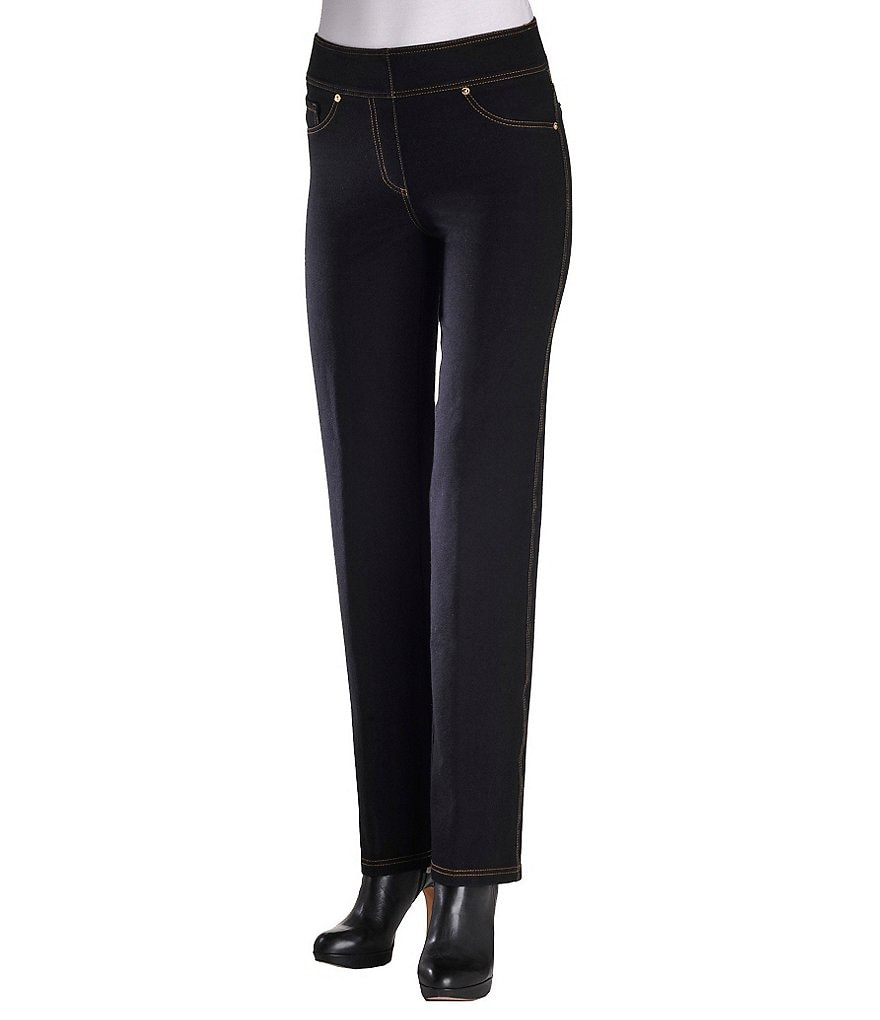 Peter Nygard Petite Straight-Leg Denim Pants