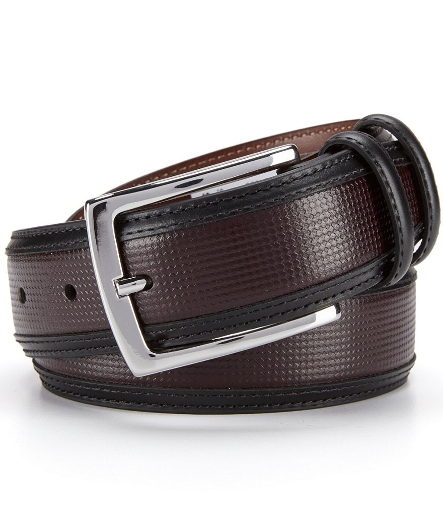 Cremieux Small Pane Inlay Leather Belt