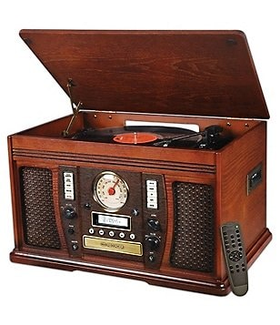 Innovative Technology The Aviator Recordable 7-in-1 Bluetooth Wooden Record Player Music Center