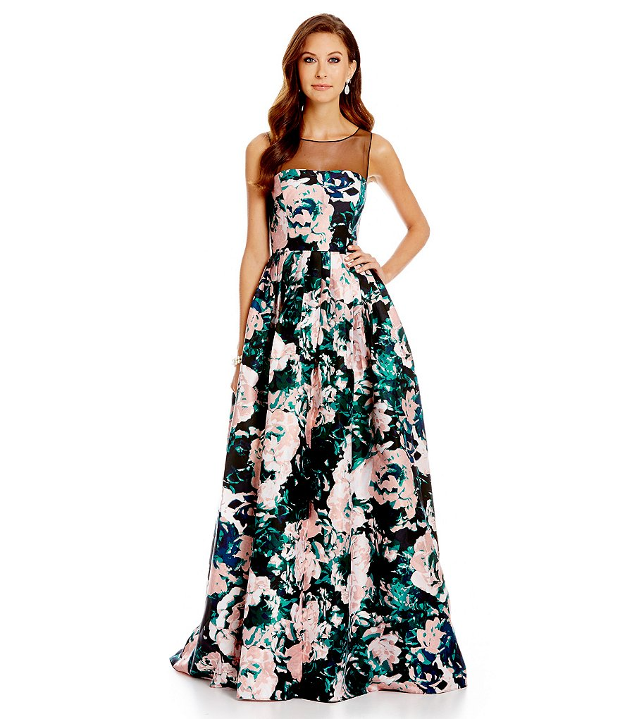 Adrianna Papell Sleeveless Floral Illusion Gown