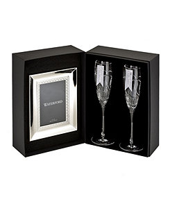 Waterford Crystal Wedding Vows Flute Pair and Frame Gift Set