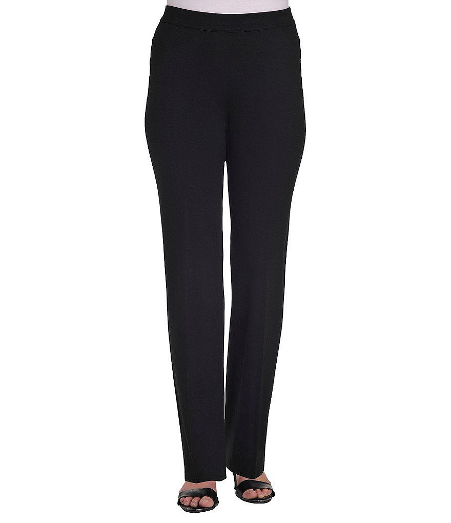 Allison Daley Straight-Leg Pull-On Solid Ponte Pant