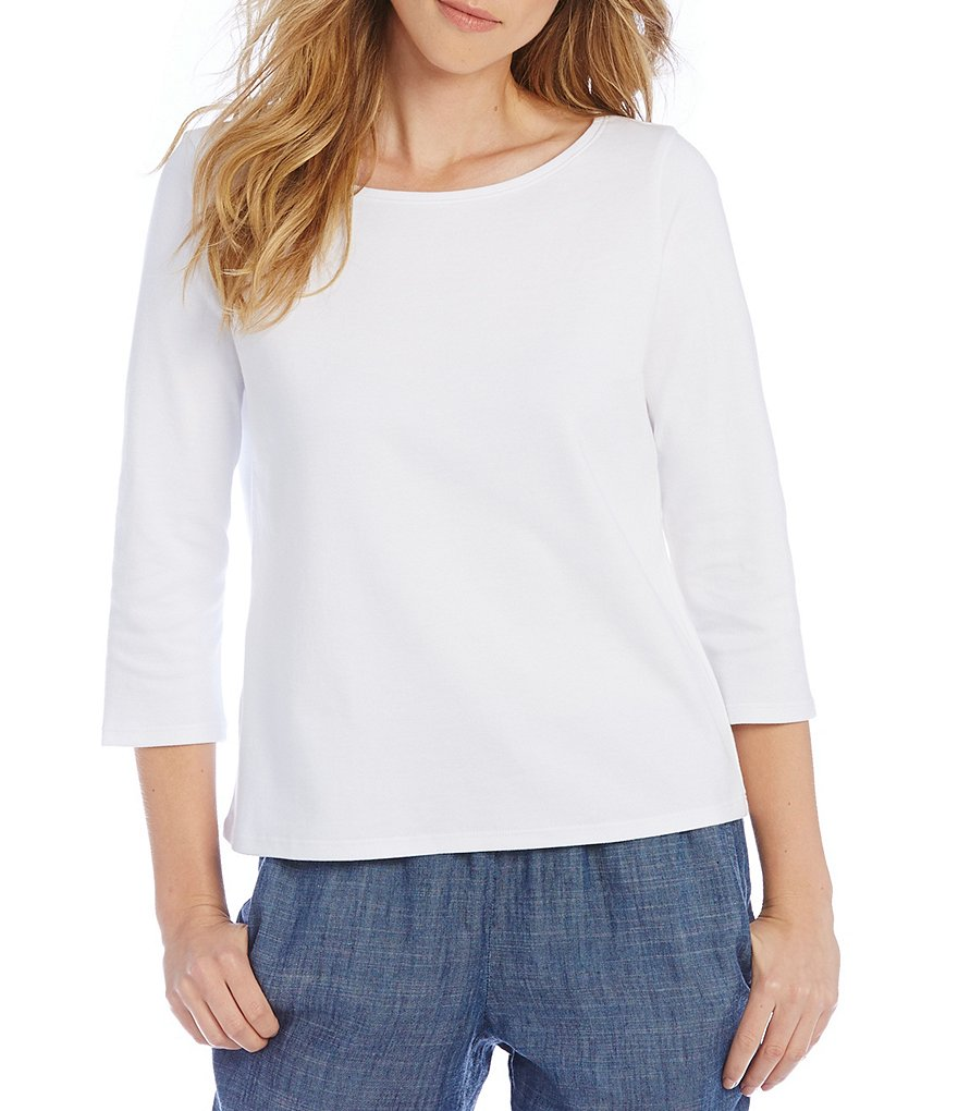 Eileen Fisher Organic Cotton Ballet-Neck Top