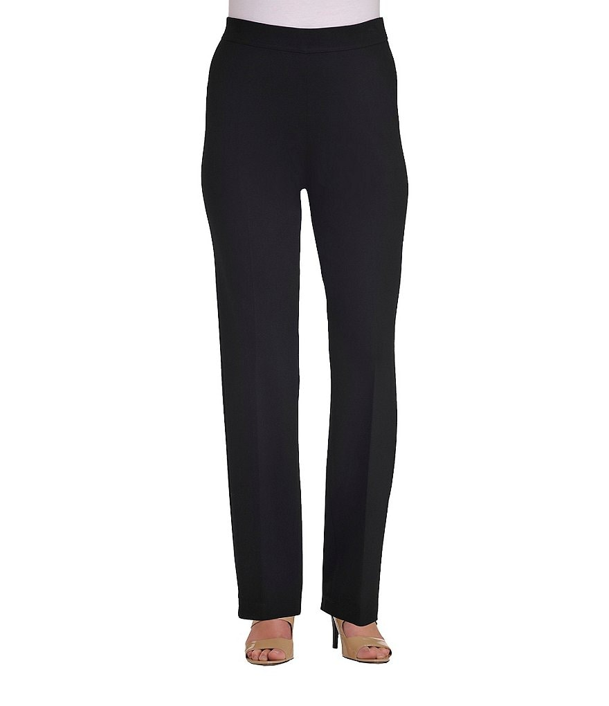 Allison Daley Petite Straight Leg Pull-On Solid Ponte Pants