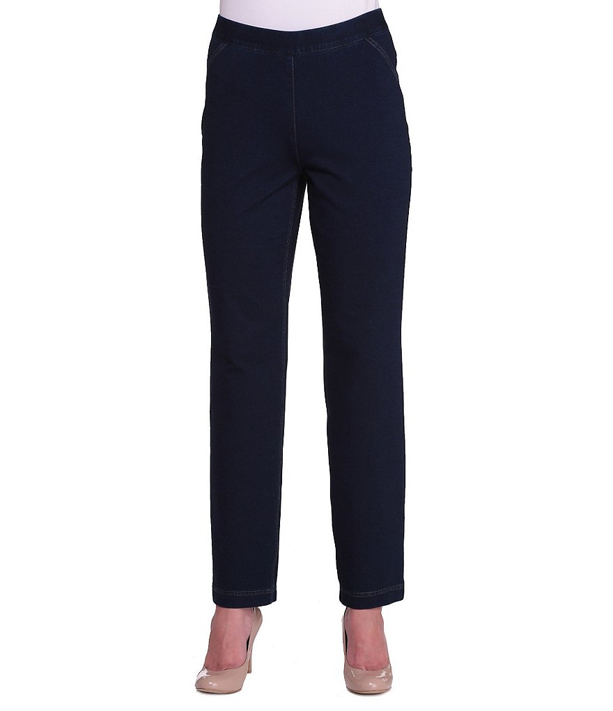 Allison Daley Petite Pull-On Straight Leg Comfort Knit Jeans