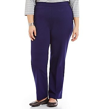 Allison Daley Plus Straight Leg Pull-On Solid Ponte Pant