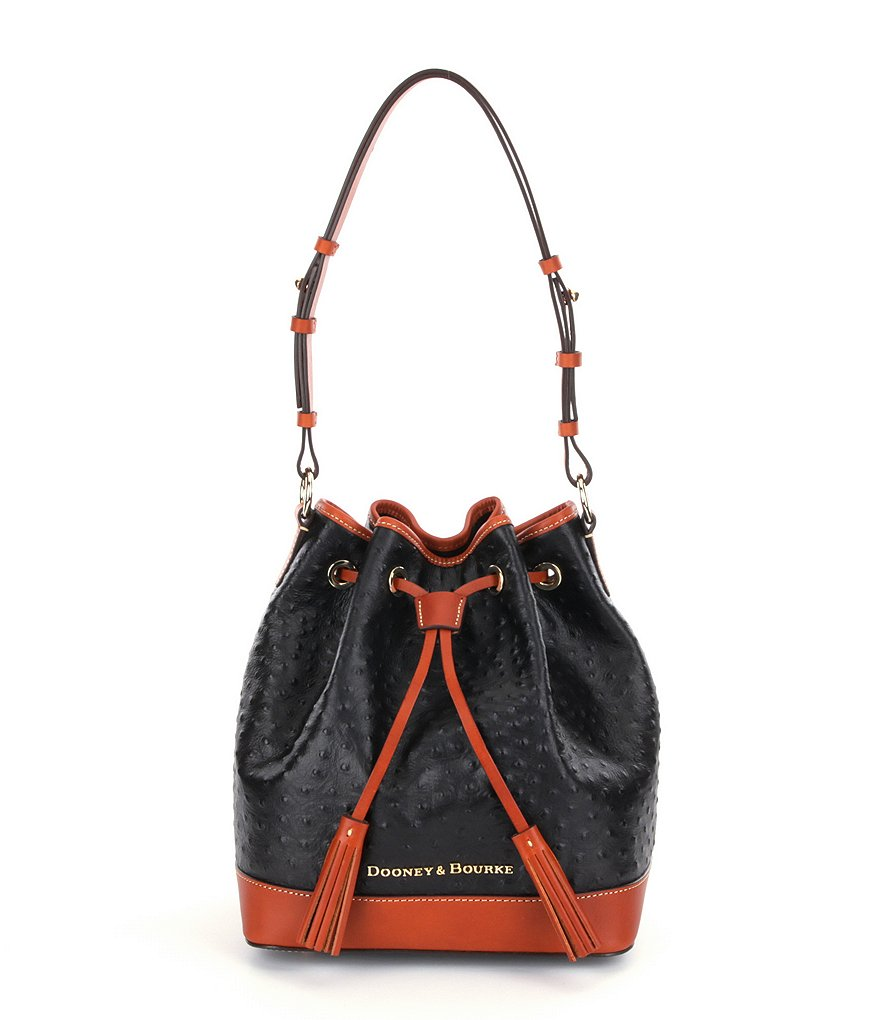 Dooney & Bourke Ostrich-Embossed Tasseled Drawstring Bag