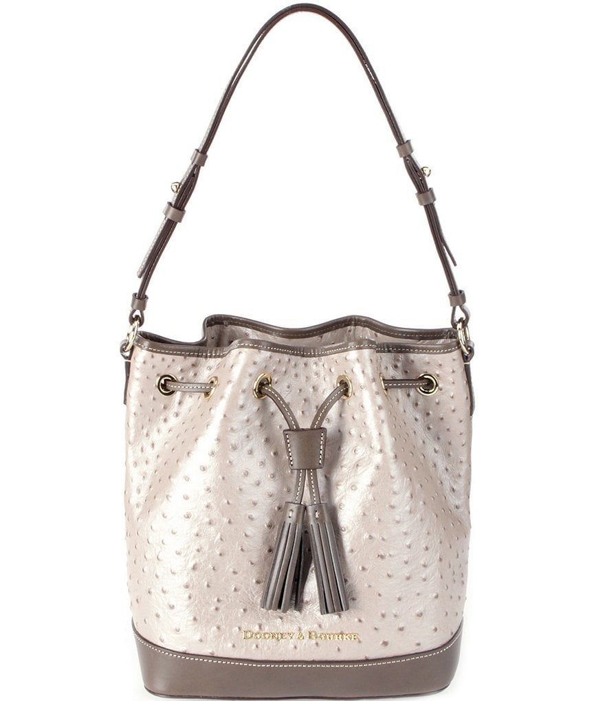Dooney & Bourke Ostrich-Embossed Drawstring Bag