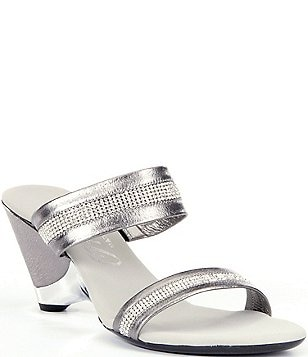 Onex Stunning Jeweled Metallic Leather Double Banded Dress Sandals