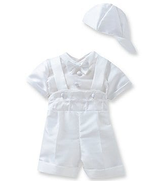 Edgehill Collection Baby Boys Newborn-9 Months Shirt & Cross Shortall Christening Set