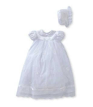 Edgehill Collection Ribbon Baby Girls Newborn-9 Months Christening Dress