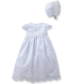 Edgehill Collection Baby Girls Newborn-9 Months Flower & Pearl Christening Dress