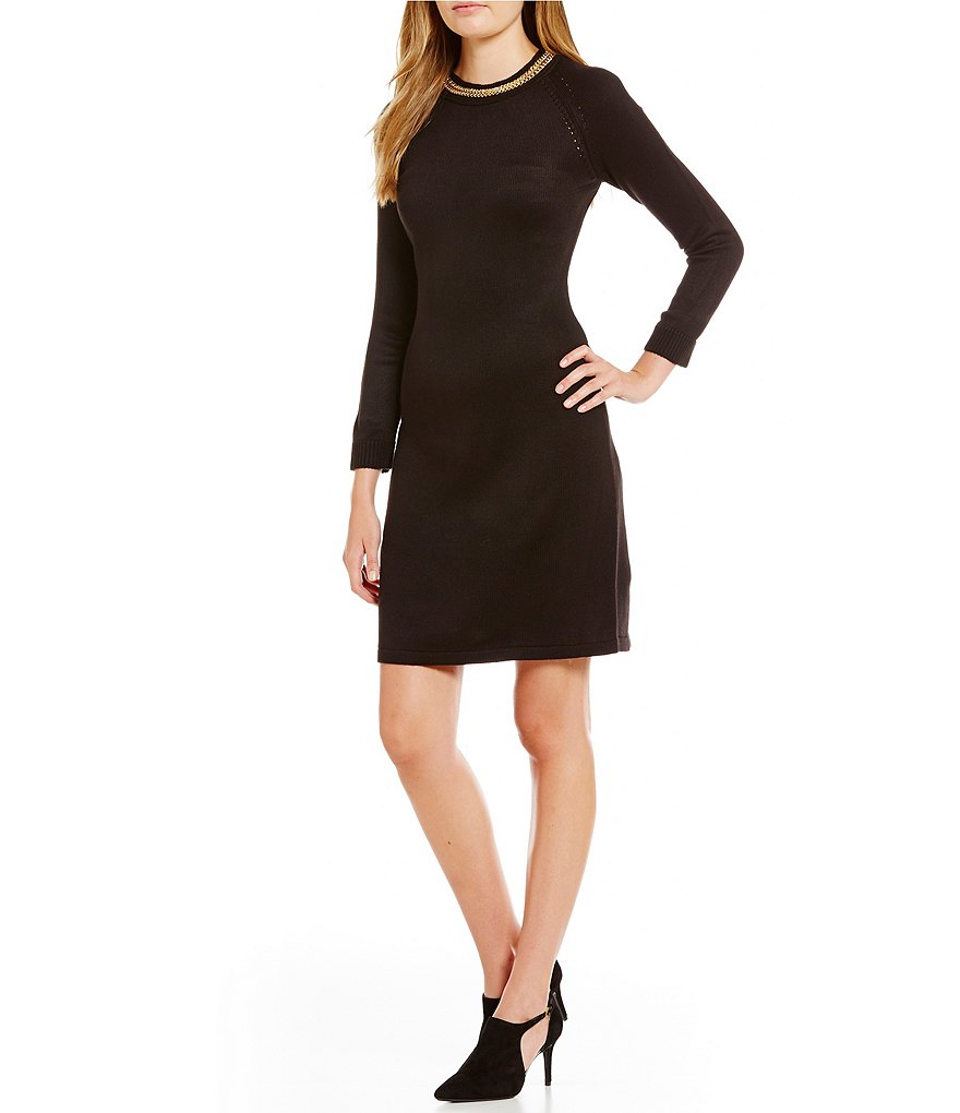 Calvin Klein Chain-Neck Sweater Knit Dress