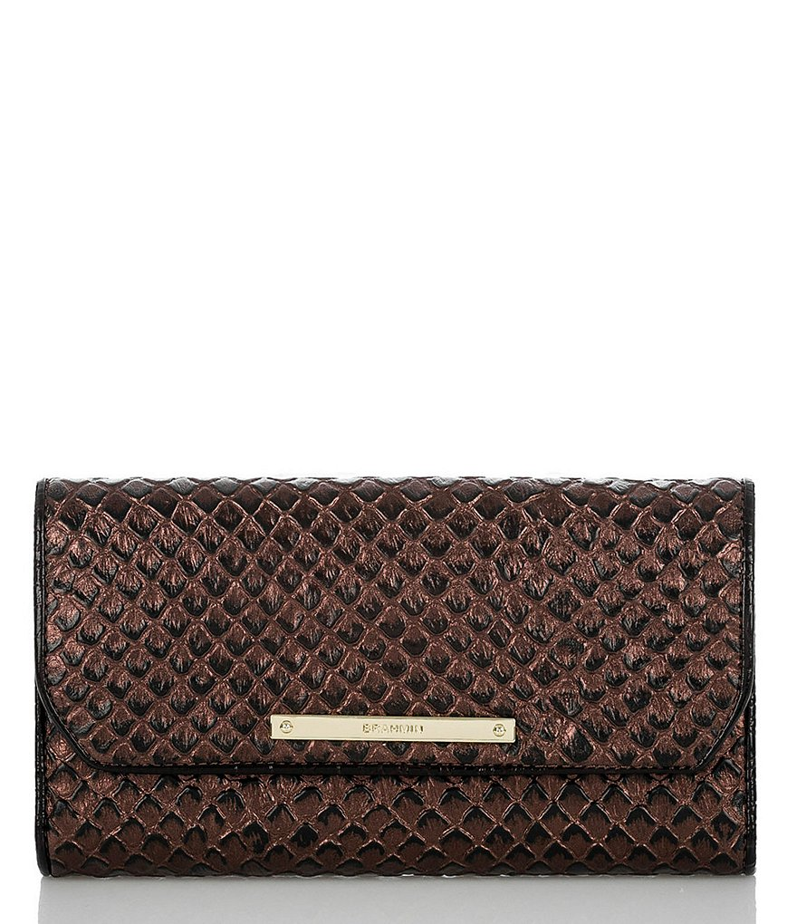 Brahmin Black Java Collection Snake-Embossed Soft Checkbook Wallet