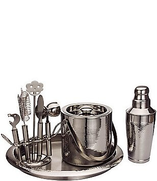 Godinger Deluxe Hammered Steel 9-Piece Bar Tool Set