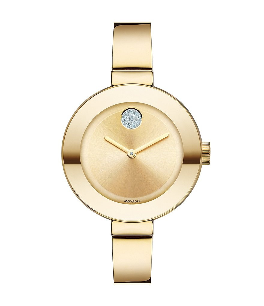 Movado Bold Mid-Size Gold-Tone Bangle Watch with Swarovski Crystal