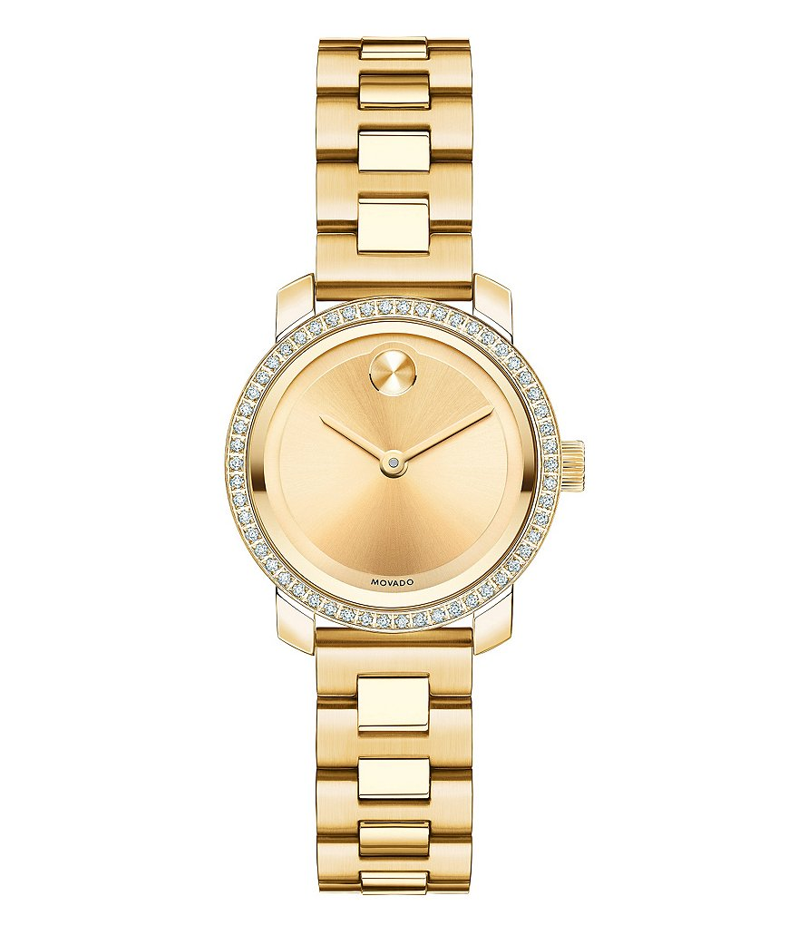 Movado Bold Small Gold Tone Genuine Diamond Watch