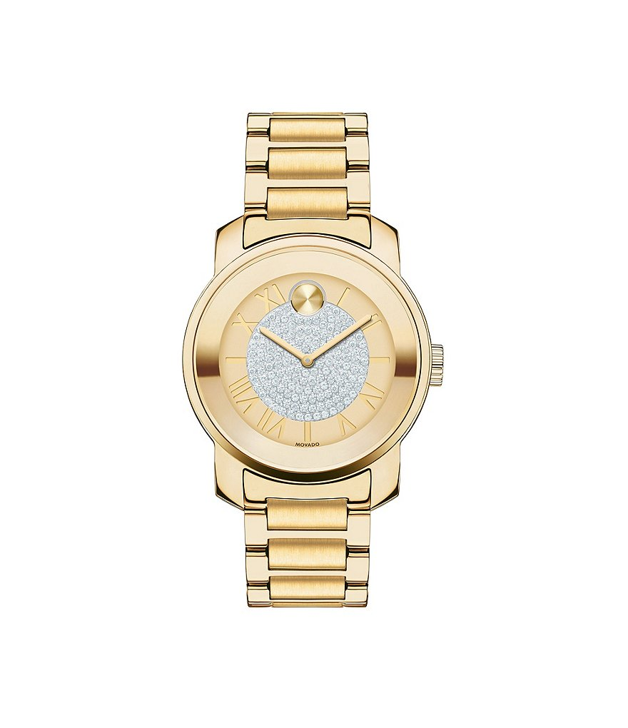 Movado Bold Luxe Goldtone Analog Bracelet Watch with Roman Numeral Dial