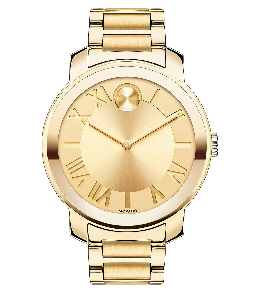 Movado Bold Luxe Goldtone Stainless Steel Bracelet Watch with Roman Numeral Dial
